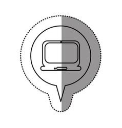 monochrome contour sticker with laptop computer vector image