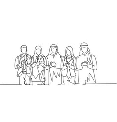 One continuous line drawing young businessmen vector