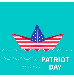 Patriot day background paper boat dash line flat vector
