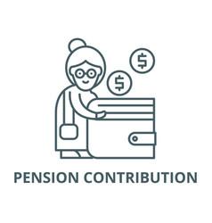 Pension contribution line icon linear vector