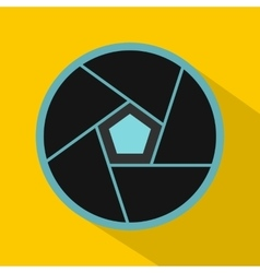 Photographic lens icon flat style vector