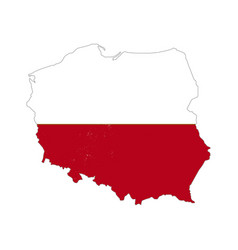 Poland country silhouette with flag on background vector