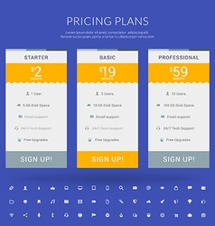 Pricing Table in Flat Design Style for Websites vector image