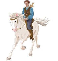 Prince Charming riding a horse vector image
