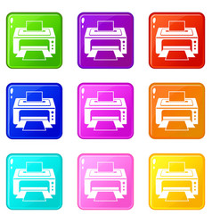 Printer set 9 vector