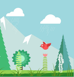 rainy summer landscape with green trees and red vector image
