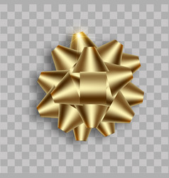 realistic golden bow with soft shadow vector image
