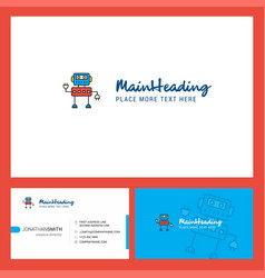 Robotics logo design with tagline front and back vector