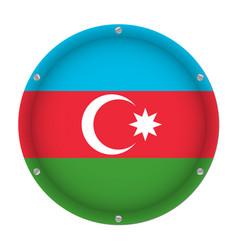 Round metallic flag of azerbaijan with screws vector