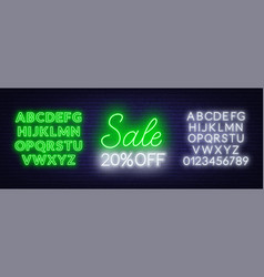 sale neon sign offer a discount template with vector image