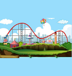 Scene with roller coaster and other rides in the vector