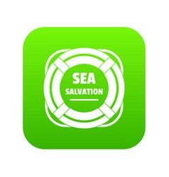 Sea salvation icon green vector