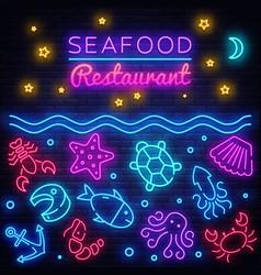 seafood neon banner restaurant menu vector image