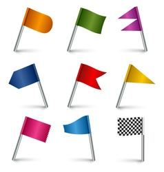 Set colored flag pins web elements vector