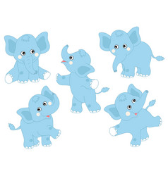 set of cute cartoon elephants vector image