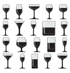Set of twenty glasses on white vector image