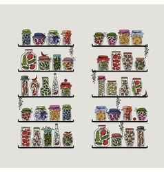 Shelves with pickle jars for your design vector