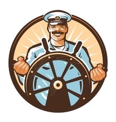 Ship captain logo cruise journey tour vector
