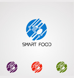 smart circle food with spoon logo concept icon vector image