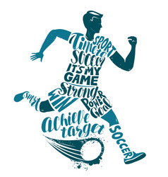 soccer player runs with ball sport concept in vector image