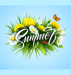 Summer handwriting lettering with summer flower vector