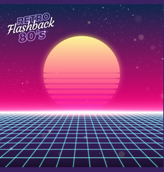 Synthwave retro design sun and grid vector