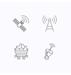 Telecommunication minerals and antenna icons vector