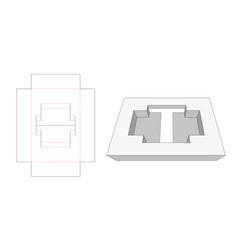 Tray insert die cut template vector