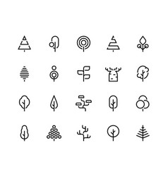 trees line icons simple minimalist plants vector image