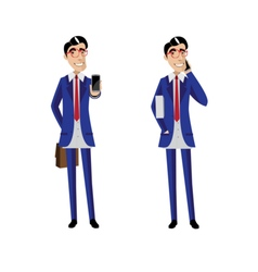 Two businessmen with mobile phones vector image