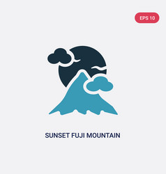 Two color sunset fuji mountain icon from nature vector