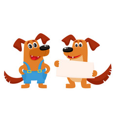 two dog characters standing holding blank board vector image