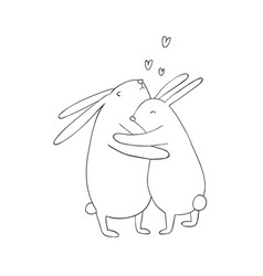 Two lovely cartoon rabbits happy animals vector