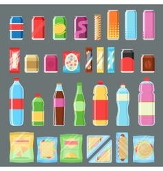 Vending machine product set in flat design vector image