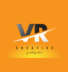 Vr v r letter modern logo design with yellow vector