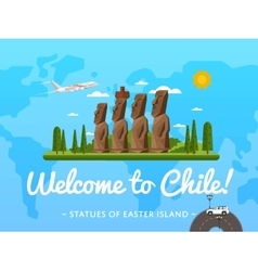 Welcome to chile poster with famous attraction vector