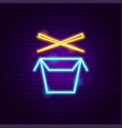 wok box neon sign vector image