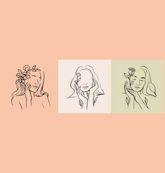 woman face line drawing abstract line vector image