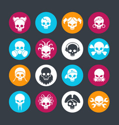 decorative skulls on colors rounds vector image vector image