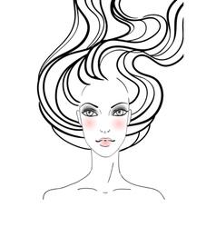 Hand-drawn fashion female portrait vector image vector image