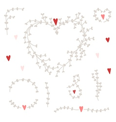 hand drawn set with wreaths and red hearts vector image vector image