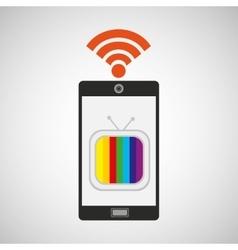smartphone tv internet wifi icon vector image