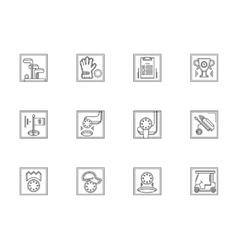 Golf equipment flat line icons set vector image