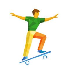 skateboarder jump on skateboard isolated on white vector image