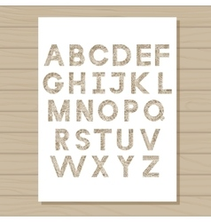 stencil template of alphabet on wooden background vector image