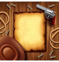 Wild west poster with cowboy stuff background vector image