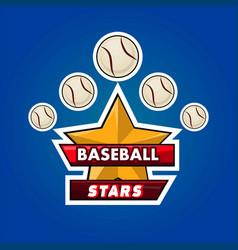 baseball stars emble vector image vector image