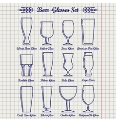 Beer glasses line icons set vector image vector image