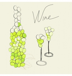 bottle and two glasses vector image vector image