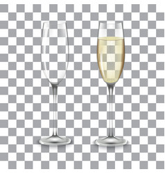 full and empty glass of champagne vector image vector image